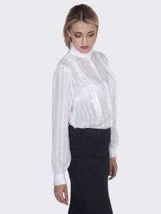 Блуза-рубашка белая c рюшами и защипами