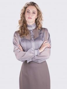 Шифоновая блуза-рубашка серая c рюшами и защипами