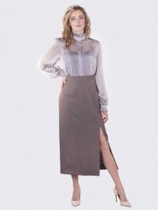 Шерстяная юбка с разрезом оливка