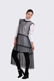 Платье черное без рукава ярусы из сетки