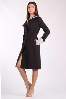 Платье пиджак из коричневой шерсти с двойным воротником и манжетами