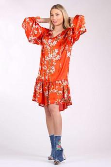 Платье шелковое с оборкой цветы сакура