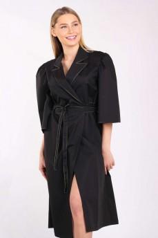 Платье на запах черное с отделкой строчкой
