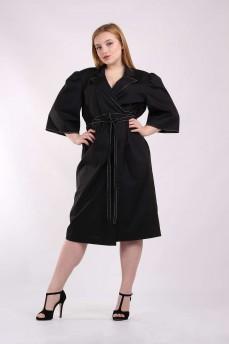Черное платье на запах  с отделкой строчкой