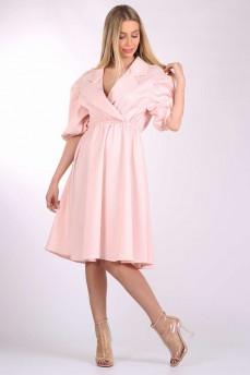 Платье розовое с раскрытым воротником