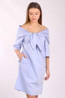 Платье голубое с отложным большим воротником
