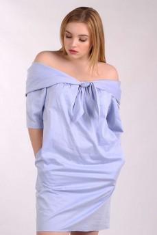 Платье голубое с большим отложным воротником