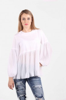 Блуза белая рукав плиссе