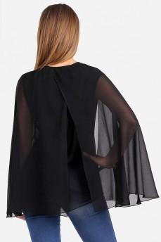 Шифоновая черная блуза с рукавами крылья