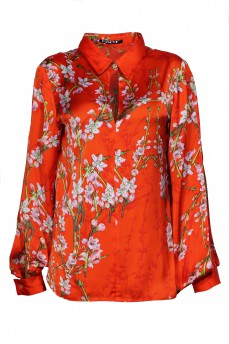 Шелковая блуза принт сакура