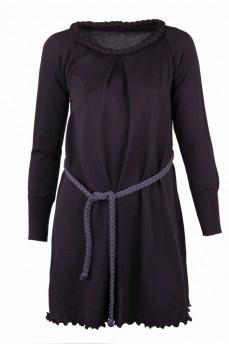 Короткое платье с воротником косичка и поясом