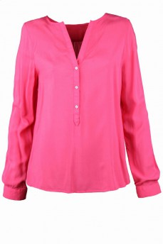 Блуза коралловая шелковая вырез мыс