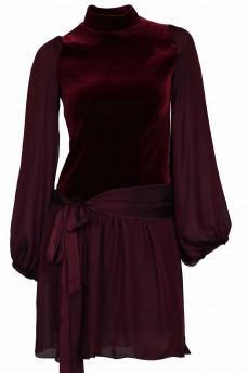 Велюровое платье цвет марсала