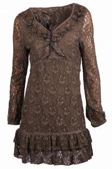 Платье из набивного гипюра с декоративной застежкой молния