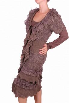 Кардиган коричневый из шерсти с тройным воланом