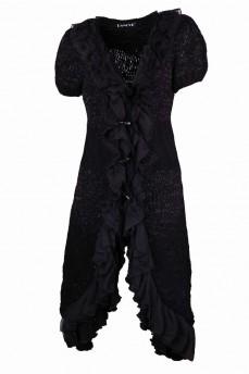 Кардиган длинный вязанный черный с ассиметричным подолом