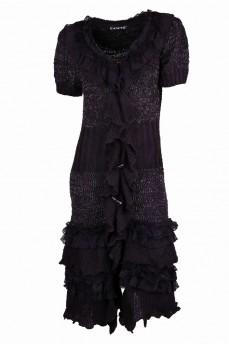 Кардиган длинный вязанный серого цвета ровный