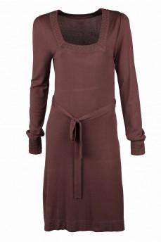 Платье коричневое с вырезом карэ и металическими стразами