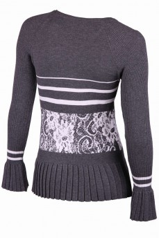 Пуловер серый с манжетом гафре