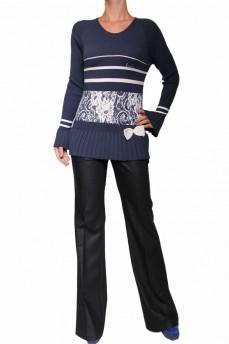 Пуловер синий с манжетом гафре