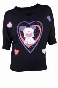 Пуловер летучая мышь черный