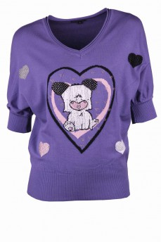 Пуловер летучая мышь фиолетовый