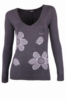Пуловер серый с ромашками