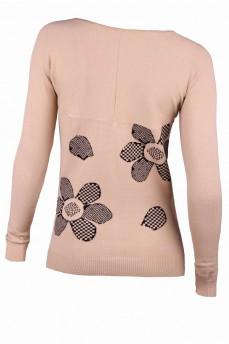 Пуловер бежевый с ромашками