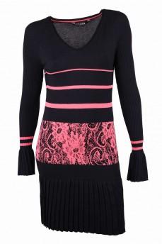 Платье черное с коралловым рисунком