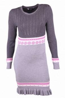 Платье светло-серое с скандинавским узором