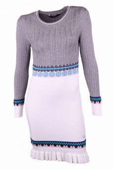 Платье белое с скандинавским узором