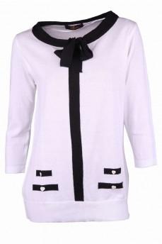 Блуза белая с черным бантом