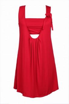 Платье с лифом алое