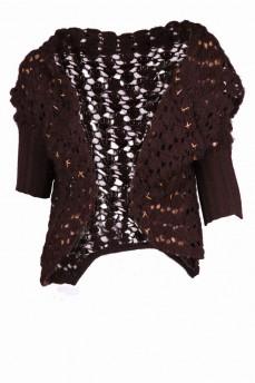 Кардиган вязанный шоколадного цвета из шерсти ажурной вязки