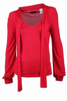 Блуза красная с декольте и шарфом-бант