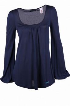 Блуза темно-синяя расклешенная с кокеткой от груди