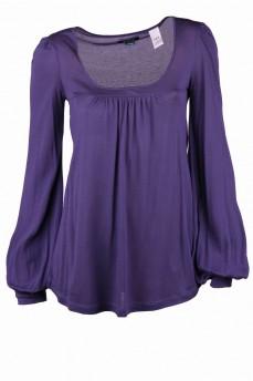 Блуза фиолетовая расклешенная с кокеткой от груди