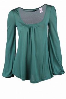 Блуза зеленая расклешенная с кокеткой от груди