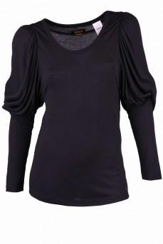 Блуза черная зауженная от локтя