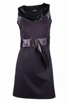 Платье жаккардовое с элементами лаковой кожы