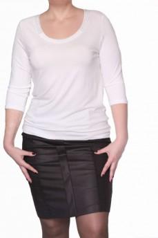 Блузка с круглым вырезом, декорированный стразами