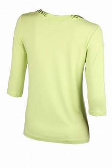 Блузка салатового цвета с круглым вырезом