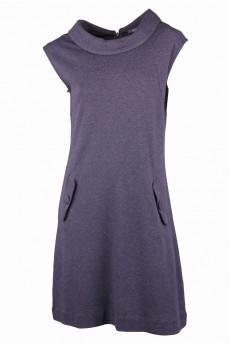 Серое платье элитной шерсти без рукава с воротником-шалька