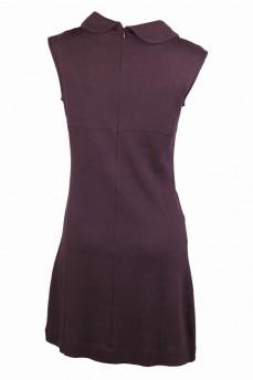 Платье из итальянской тонкой шерсти без рукава с воротником-шалька