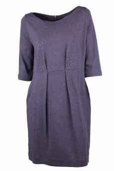 Платье cерое из итальянской шерсти со стразами