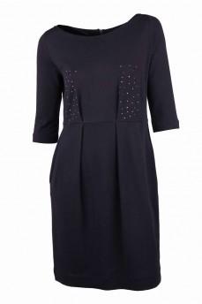 Платье черное из итальянской шерсти со стразами