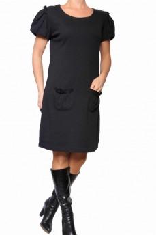 Платье черное из велюровой шерсти с рукавом фонарик