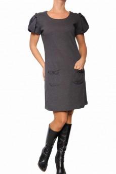 Платье серое из тонкой шерсти с рукавом фонарик