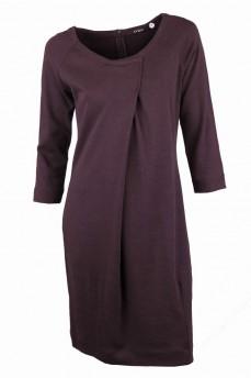 Платье коричневое со встречной складкой