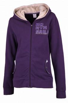 Куртка фиолетовая с меховым капюшоном на молнии